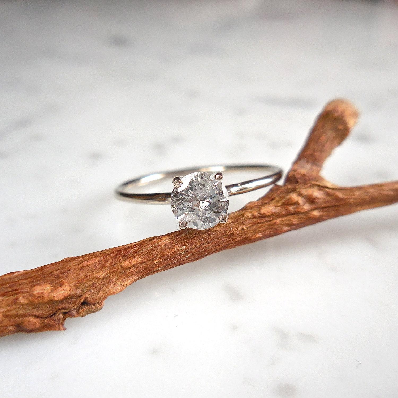 Solitaire Diamond Engagement Ring Salt and Pepper Diamond