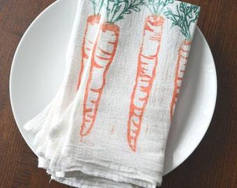 Cloth Napkins - Block Printed Cotton Cloth Napkins - Eco Friendly Dinner Napkins - Carrot - Handmade Cotton Napkins - Reusable - Farmtable