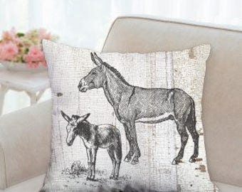 Two Donkey's Designer Pillow