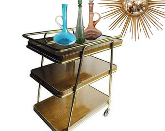 Mid Century Bar Cart Metal Rolling Cart Tea Bar Cart 3 Tier Shelves Modern Industrial Gold Tone Atomic Age Retro Plant Stand Bohemian Retro