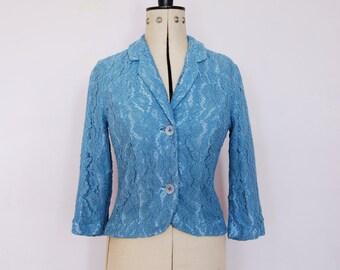 Vintage 1950s blue lace jacket - Vintage lace jacket - Vintage lace blazer - Cropped jacket - Lace evening jacket - Vintage formal jacket