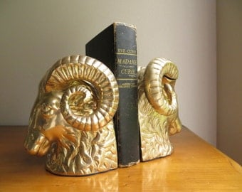 Vintage Brass Ram Bookends, Brass Bookends, Hollywood Regency, Goat Bookends, Large, Mid Century Bookends