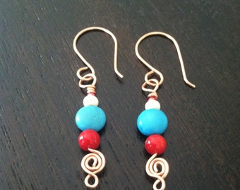 Handmade Turquoise Howlite Earrings, Copper Wire Earrings, Southwestern Earrings, Wire Wrapped, Red Coral Stick Earrings, Handmade Earrings