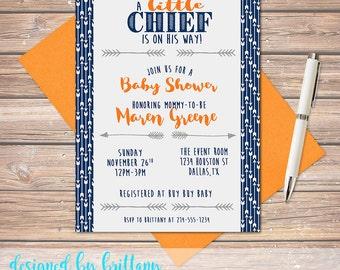 A Little Chief is on the way! Arrow Themed Baby Shower, Customize to match your party - Digital file only!