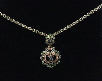 Vintage 1960's Trifari© Goldtone/Tri-Colored Enamel Pendant Necklace (Tier 3)