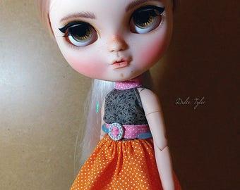 Blythe Dress - pink, orange and brown