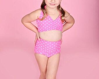 Girls retro Pink & white polka dot high waist bikini two piece kids sizes 2-12