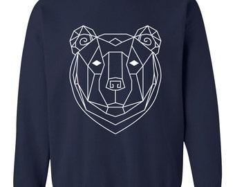 Unisex Boho Geometric Bear Totem Pullover - 3 colors - Bohemian Spirit Animal Cotton Sweater | Indigo | Maroon | Navy