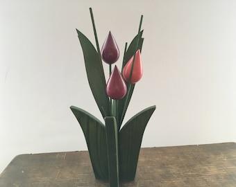 Vintage wooden tulips Colorful Handmade tulips Finnish folk art Home Garden decors