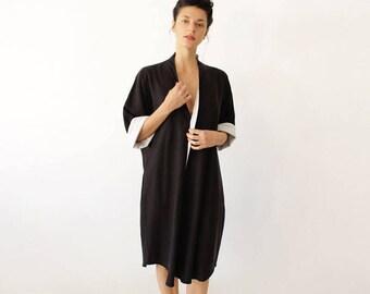 Loose Kimono Dress, Cocktail Dress, Kimono Dress, Japanese Style, Black Minimalist Dress, Loose Dress, Japanese Clothing, Evening Dress