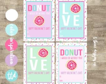 Donut Valentines, Printable Valentines Cards, kids valentines, child valentines cards, doughtnut valentines, donut Kids Valentine