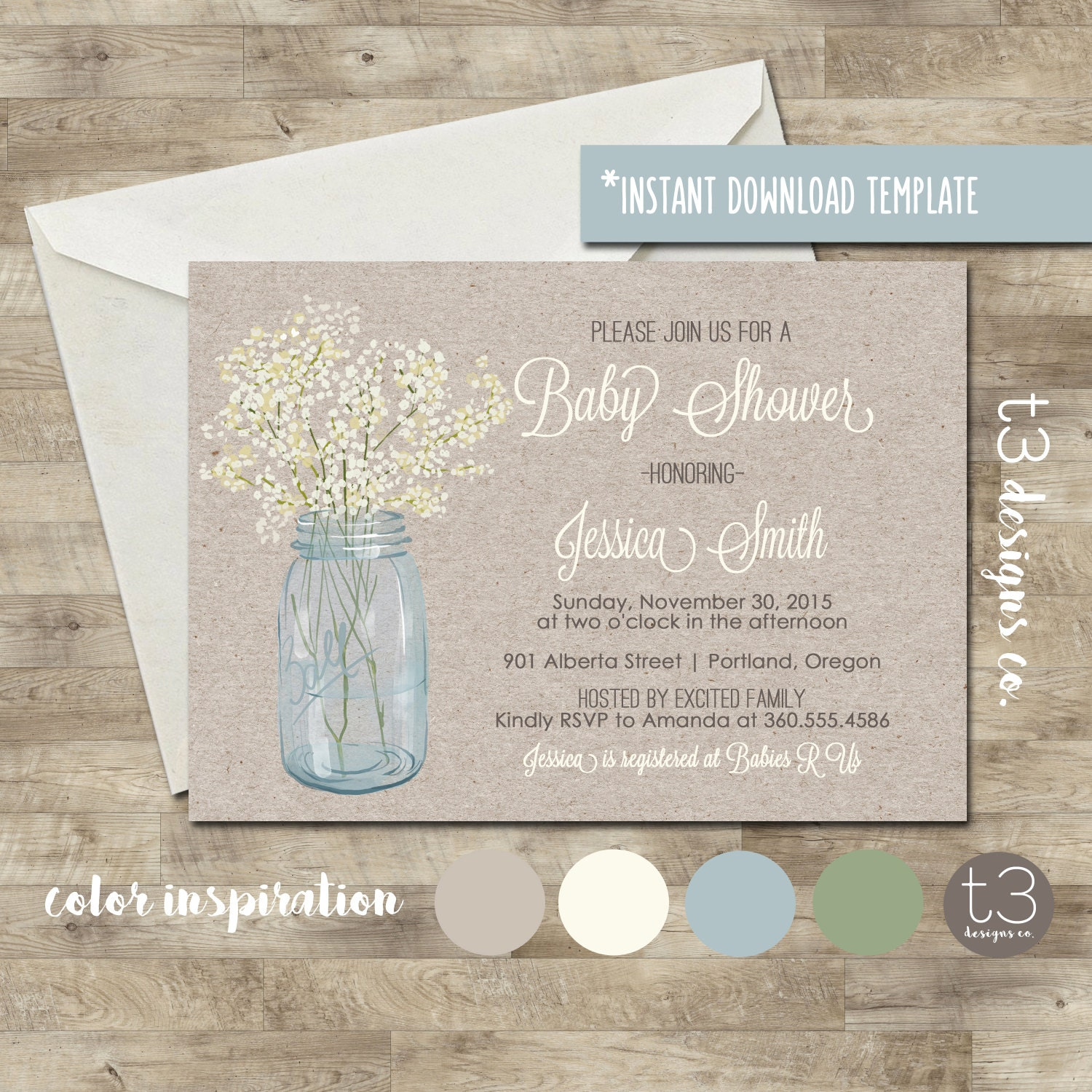 Instant Download Country Baby Shower Invitation, diy pdf, rustic ...