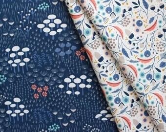 "WILDWOOD by Elizabeth Olwen - Midnight Flora, navy. Cloud 9 Fabrics. Organic cotton poplin. Choose Half Metre/19.5"" or One Yard"