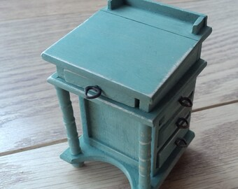 1/12th scale aged and distressed desk in soft green