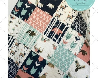Baby Quilt Girl, Woodland Nursery Bedding, Crib Bedding Deer, Baby Bedding Woodland, Baby Girl Blanket Navy, Crib Bedding, Enchanted Forest