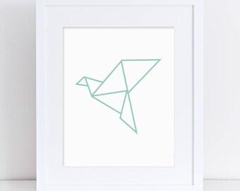 Origami Crane Art Print, Geometric Art, Origami Bird, Mint Nursery Art, Animal Nursery Art, Printable Art, Downloadable Poster, Mint Crane