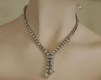 Vintage clear rhinestones necklace choker