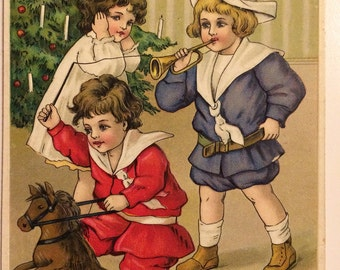 Antique Embossed Christmas Postcard 1909, German postcards, vintage postcards, ephemera