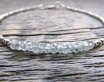 Blue Zircon Bracelet, December Birthstone Bracelet, Hill Tribe Silver Bracelet, Gemstone Bracelet, Chakra Bracelet, Zircon Bead Bracelet
