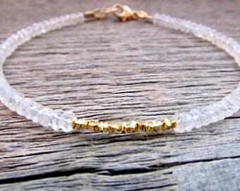 Moonstone Bracelet, Moonstone Gold Bracelet, Stack Bracelet, June Birthstone Bracelet, Gold Gemstone Bracelet, Bead Bracelet, Holiday Gift