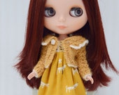 Mustard and cream alpaca lacy knit cardigan for Blythe