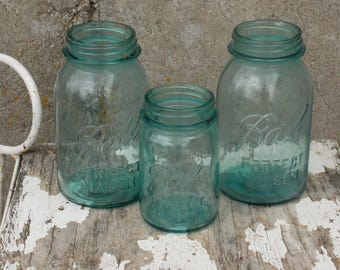 Ball Perfect Mason Jars 2 quarts 1 pint Ball Blue Aqua  circa 1923-1933
