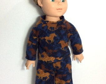 18 Inch Boy Doll Flannel Pajamas, Horse Pajamas, Blue and Brown Flannel Pyjamas, fits 18 Inch Dolls
