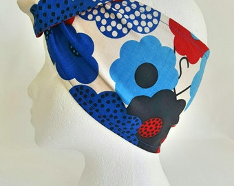 Off Her Dolly Rocker, Daisies , Red White & Blue, Retro Headscarf, Unique