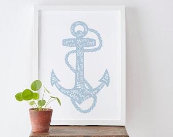 A4 Anchor Love Print - Valentine's Day print - Nautical theme