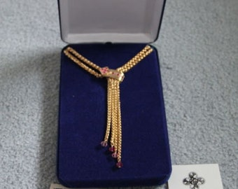Jackie Kennedy Lariat Necklace - 24K GP with Pink Stones, Box and Certificate