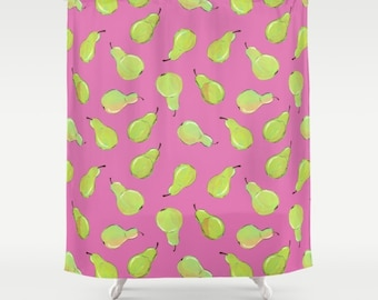 Pear Print Shower Curtain - bright green watercolor pears on a bright pink background, fruit print shower curtain