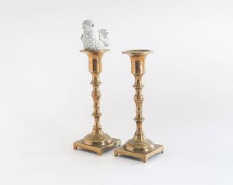 Brass Square Base Taper Candlesticks Set of 2