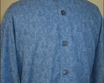 Mens Nehru Shirt, Blue Paisley Kaftan with Nehru Collar, Psychedelic Shirt, Retro 60s Style Eastern Guru Shirt, Mod, Mens 60s Shirt