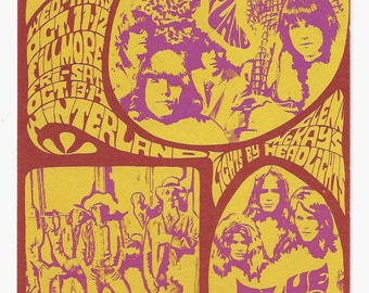 Original Jefferson Airplane Concert Postcard BG 088 Fillmore 1967 Vintage Collectibles Bill Graham Music Psychedelic San Francisco Hippies