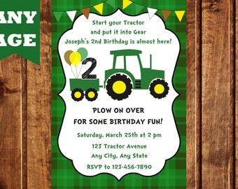 John Deere Inspired Tractor Birthday Invitation, Green Tractor Birthday Invitation, Tractor Birthday Invitation, Farm Invitation