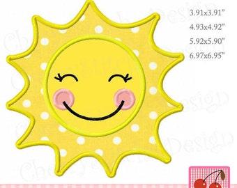 Sunshine  embroidery design, Sun applique, Summer Machine Embroidery Applique Design -for 4x4 5x7 6x10 hoop