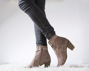 SALE!! Leather Boots, Ankle Boots, Women's Boots, Handmade Boots, Boots, Beige Boots, Heeled Boots, Chunky Heel // Free Shipping