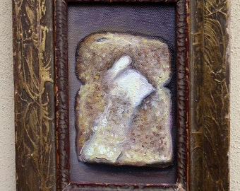 Painting of a still life in an upcycled vintage frame - toast