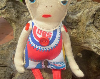SALE OOAK Cubbie the Lovely Doll Love Creature by Look What I Can Do Handmade in USA Baseball Love