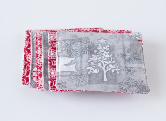Christmas Drink Coasters, Red and White, Holiday, Snowflakes, Reindeer, Trees, Snowmen, Ornaments, Cotton Fabrics, Handmade
