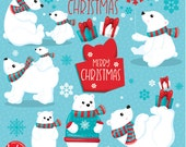80% OFF SALE Polar bears clipart commercial use, christmas bear vector graphics, christmas digital clip art, polar bear images - CL1048