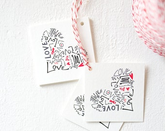 Wedding Gift Tags/Party Favor Gift Tag Set, Love red heart handmade tags, I love you favor tags with red and white bakers twine