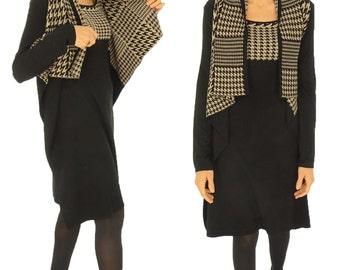 HT700SW dress tunic knit waterfall collar long sleeve size 38 black/beige.
