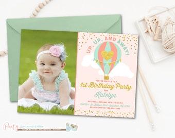 Hot Air Balloon Birthday Invitation, Hot Air Balloon Invitation, Time Flies Invitation, Up Up and Away Birthday Invitation, Balloons