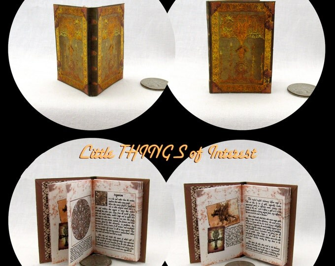 ENCANTUS MAGICAL TEXTBOOK Miniature Book Dollhouse 1:6 Scale Illustrated Book Sorcerer's Apprentice Blythe Barbie Scale Book Accessory