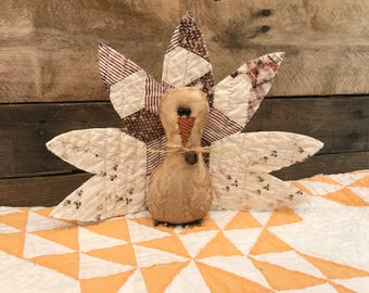Primitive Turkey with Quilt Feathers