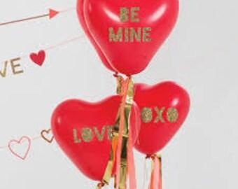 Large Red Heart Balloons, Glitter Heart Balloon Kit, Valentineu0027s Day  Balloons, Valentine Balloons