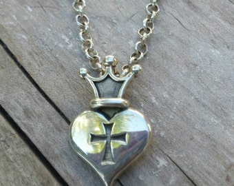 crown heart cross sterling silver pendant  steampunk gothic