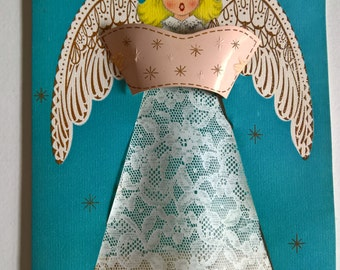 Vintage Christmas Sweetheart Greeting Card --- Retro Oversized Angel Sentiment --- Thinking of You Happy Holidays Sweet Loving Forever Love