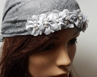 Grey Lace Tichel , Grey Head Scarf ,  Floral Headwear , Women's Bandana , Snood , Chemo Hat , Head Wrap , Hair Covering